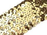 Stoffe-Online-Shop Stretch-Pailletten, Paillettenband, Paillettenborte elastisch, in schwarz, rot, Gold oder Silber erhältlich, Breite 45mm, VE: 1m (Gold)