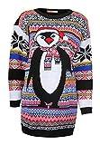 Fast Fashion Damen Pullovern Aztec Pinguin Drucken Gestrickte Weihnachts