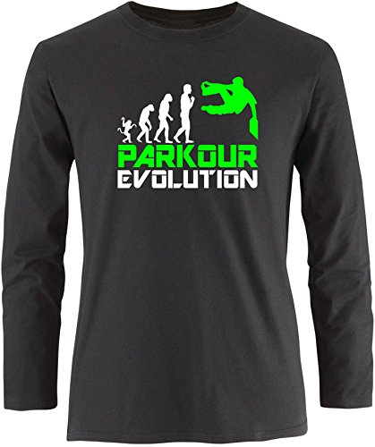 EZYshirt® Parkour Evolution Herren Longsleeve Schwarz/Weiß/Neongr
