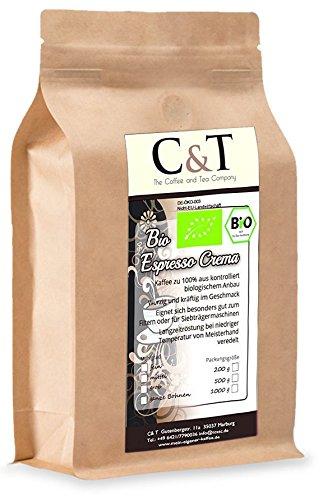 C&T Bio Espresso Crema | Cafe 1000 g ganze Bohnen im Kraftpapierbeutel Kaffee für Siebträger, Vollautomaten, Espressokocher