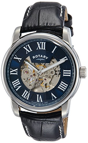 Hommes Rotary Automatique Squelette Cadran Bracelet en Cuir Noir Montre Analogue Gs00400/05
