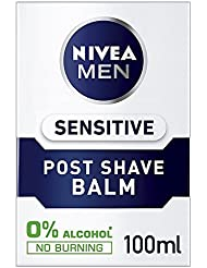 Nivea Men Sensitive Post Shave Balm with Zero Percent Alcohol Pack of 3 (3 x 100 ml), After Shave Balm for Men, Men's Skin Care and Shaving Essentials