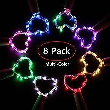 WDXD 8 Pack Led Bottle Cork String Lights, 6.5 Ft 20 LED Batería con pilas Wine Wire de cobre Colorful Starry Fairy Lights para botella DIY, Fiesta, Decoración del hogar, Navidad, Halloween, Boda o Es