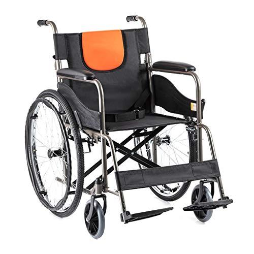 XINGZHE Rollstuhl, klappbarer Stahl-Materialtransport mit medizinischem Handbuch leicht und langlebig, mit aufblasbarem Hinterrad, Erwachsener Alter Mann, 24-Zoll-Hinterrad Gehhilfe