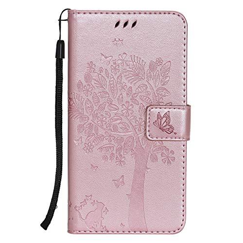 Lomogo Cover iPhone XR, Custodia Portafoglio in Pelle Porta Carta di Credito con Chiusura Magnetica per Apple iPhone XR - LOKTU22241 Oro Rosa