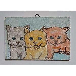 Kätzchen-gemalt auf Karton Leinwand Handarbeit, Größe cm 15×0,3x10cm.Bereit, an der Wand befestigt werden.Made in Italien, Toskana, Lucca.Geschaffen von Davide Pacini.