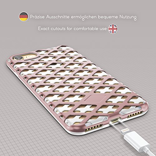 Urcover® Apple iPhone 7 / 8 Hülle Mesh Case 2-teilig aus PC & TPU in Schwarz / Gold Dual Layer Zubehör Tasche Back-Case Handy-Hülle Cover Schutz-Hülle Schale Weiß / Rose Gold