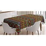 ABAKUHAUS Afrikaanse Tafelkleed, geometrische Kleurrijke, Eetkamer Keuken Rechthoekige tafelkleed, 140 x 200 cm, Veelkleurig