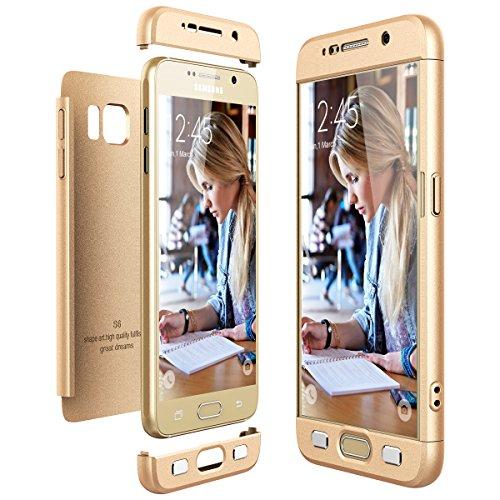 CE-Link Funda Samsung Galaxy S6, Carcasa Fundas para Samsung Galaxy S6, 3 en 1 Desmontable Ultra-Delgado Anti-Arañazos Case Protectora - Oro