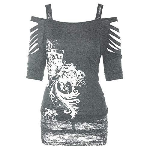FRAUIT Damen Gothic Shirt Bauchfrei Stickerei Bluse Trägerlos T-Shirt Lässige Ripped Sling Kleid Schulterfrei Tunika Bodycon Cut Out Kurzarmshirt Oberteil Tops Freizeit Kleidung