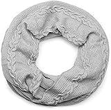 styleBREAKER sciarpa scaldacollo in maglia fine con motivo intrecciato, sciarpa invernale ad anello, sciarpa in maglia, unisex 01018151, colore:Grigio chiaro
