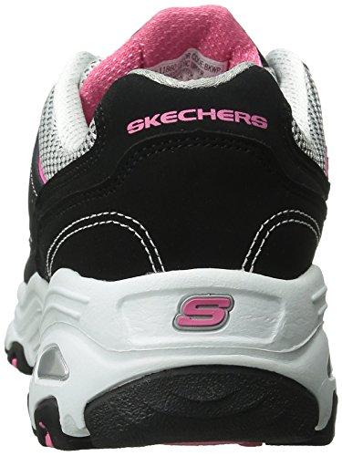 Skechers D'Lites-Life Saver, Scarpe da Ginnastica Basse Donna Nero (bkwp)