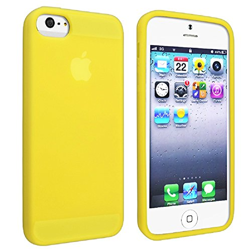 Gadgets World Portefeuille de couverture de chiquenaude PU Cases Grip en cuir, étuis en silicone doux, dur Retour cas s'inscrit pour Apple iPhone 5S, 5G et l'iPhone 5 ne + grand stylet stylet. (Baby B Yellow Silicone