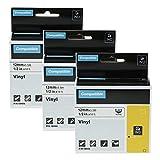 Airmall Lot de 3 Ruban Equivalent À Dymo Rhino Étiquettes 18444 S0718600 Industrielles Vinyle 12mm x 5,5m Noir Sur Blanc Compatible avec L'étiqueteuse Dymo Rhino 1000 3000 4200 5000 5200 6000