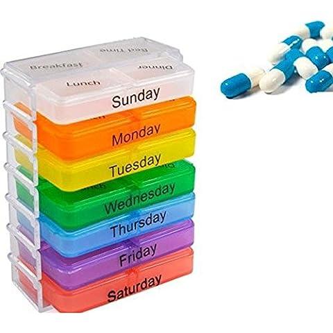 PIXNOR 7 giorni 28-cellulare Tablet portapillole medicina ogni giorno pillola caso contenitore