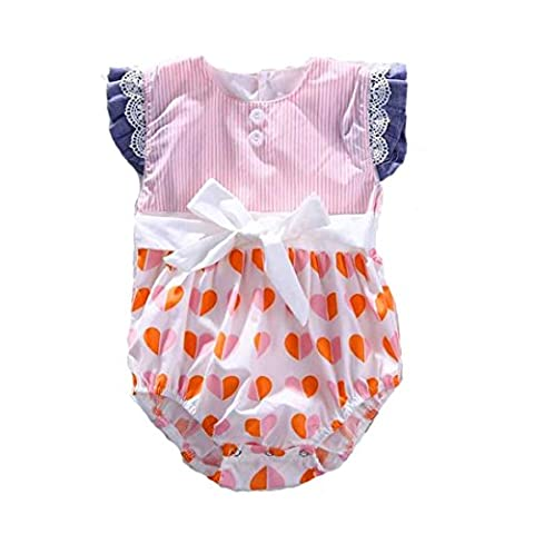 Tonwalk Newborn Romper Baby Girl Clothes Stripe Peach Printing Jumpsuit Bodysuit Outfits (9-12Months)