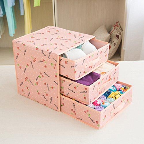 DWW-Panier de rangement Sous-vêtements boîte de rangement tiroir finition boîte Oxford tissu trois boîtes de rangement imperméable à l'eau ( Couleur : B )