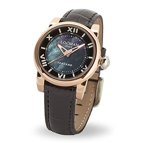 Locman Italy Ladies Watch Toscano Black Rose Gold-Plated Ref 595