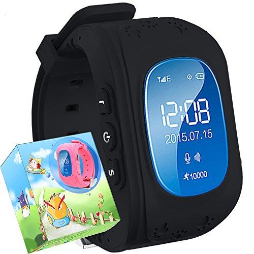Montre pour Enfant,TURNMEON Montre-Intelligente GSM GPRS GPS Locator Tracker Anti-Perdu Garde d'enfants Smartwatch pour Smartphone (black)
