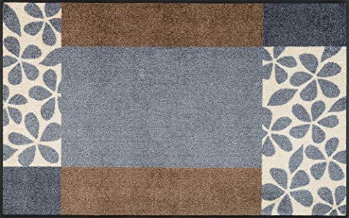 wash+dry Fußmatte Polyester Grau 75 x 120 cm
