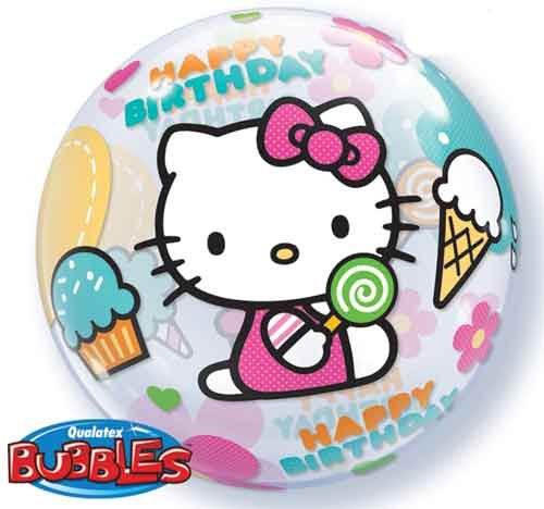 Hello Kitty Birthday Single Bubble Balloon - Hello Kitty Birthday Party Balloons