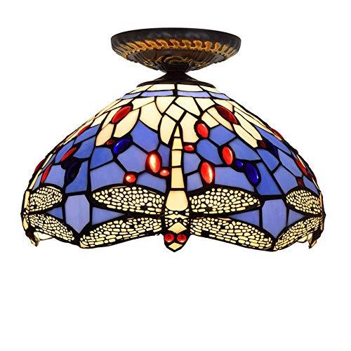 ASDF Tiffany Deckenleuchte, Henley 12-Zoll Glasmalerei Kronleuchter Schlafzimmer Lampe Art Deco Decken Beleuchtung Tiffany Stil Vintage Deckenlampe Für Wohnzimmer Flur -