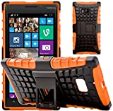 G-Shield Nokia Lumia 930 Hülle Silikon mit Ständer Stoßfest Schutzhülle Dünn Tasche Hybrid Armor Cover Case Etui Handyhülle mit Displayschutzfolie und Stylus - Orange