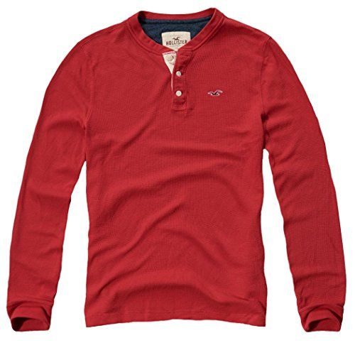 hollister-mens-icon-waffle-henley-longsleeve-shirt-size-l-red-624438609