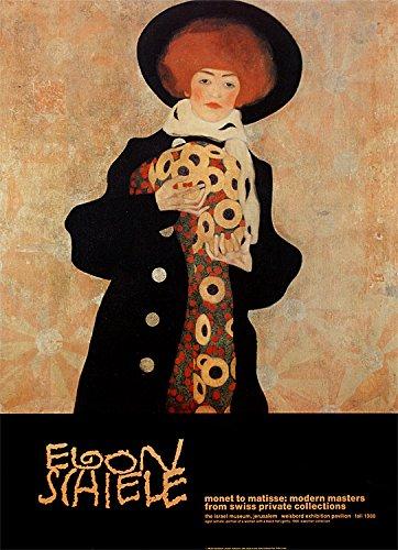 Egon Schiele Poster Kunstdruck Bild Portrait of a Woman with a Black Hat (Gerti), 1909 86x63cm