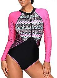 AMENON 2 Pcs Women's Rash Guard Long Sleeve Swimsuit UV Sun Protection Tops Tankini Athletic Cover Up S-