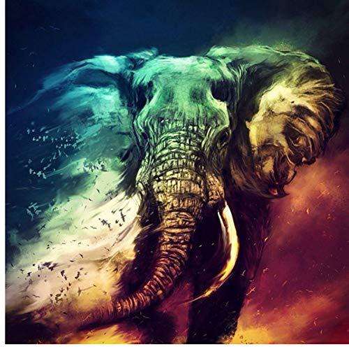 XIGZI Voll Bohrer 5D DIY Diamant Malerei Tier 3D Daimond Stickerei Mosaik Runde Strass Diamant Malerei Indischer Elefant Deco 50X70 cm Rahmenlose (Malerei Tiere)