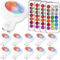 RGBW 3W GU10 Led Colores Cambiantes Lámpara,Sunpion RGB 6000K Coolwhite Bombilla Bulbo LED AC 85-265V, LED Lampara Bombilla Colores Mando a Distancia Led RGB Light Bulb (10Pack GU10 RGB+6000K)