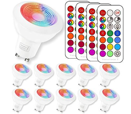GU10 LED RGBW Lampe mit Fernbedienung|led Downlight|Warmweiß(2700 Kelvin)| MR16 GU10 farbwechsel led|3W ersetzt 20W Watt Halogen|Dimmbare Birne mit RGB|für Ambiente Party Deko(10 Pack GU10 RGB+2700K)