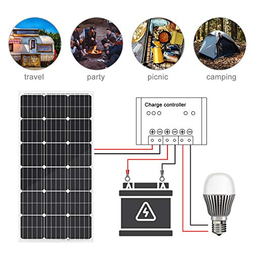 ECO-WORTHY 100W 12 Volt Solarmodul Polykristallin Solarpanel Photovoltaik Solarzelle Ideal zum Aufladen von 12V Batterien - 4