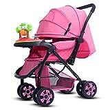 HJFBW Kinderwagen Buggy Faltbar Travel Buggy 5 Punkt Gurtsystem Schwenkbar Regenschutz Kinderwagen,Pink