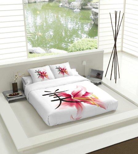 TSUKI Juego Funda Nórdica RAN cama 150 negro / blanco / rojo / Zen Chillout