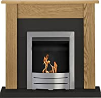 Adam Southwold Fireplace Suite, Oak & Black with Colorado Bio Ethanol Fire in Brushed Steel 43 inch