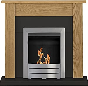Adam Southwold Fireplace Suite, Oak & Black with Colorado Bio Ethanol Fire in Brushed Steel 43 inch