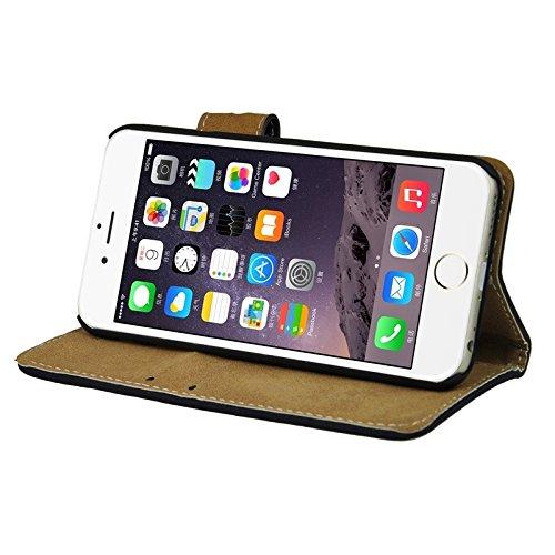 Phone case & Hülle Für iPhone 6 / 6S, Angibabe matt Horizontale Flip Leder Tasche mit Halter & Card Slots & Wallet ( Color : Brown ) Dark Blue
