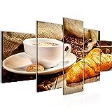 Runa Art Bilder Küche Kaffee Wandbild Vlies - Leinwand Bild XXL Format Wandbilder Wohnzimmer Wohnung Deko Kunstdrucke Braun 5 Teilig - Made in Germany - Fertig Zum Aufhängen 501852c