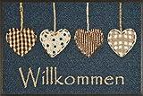 wash+dry Fußmatte Cottage Hearts, 50x75 cm, Innen und Außen, waschbar, Blau