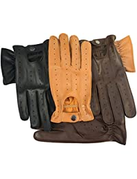 PRIME LEATHER TOP QUALITY REAL SOFT LEATHER MENS DRIVING GLOVES BLACK BROWN TAN YELLOW 7011