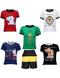 Gkidz Boys Pack of 5 Half Sleeve T-Shirts and Bermudas (JB5PCKDYK-1_N_BER-001_Multi Color)