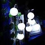 LED Solar Lichterkette Außen,DINOWIN 20 LED Glühbirne Leuchten,Innen und Außen Deko Glühbirne Lichterkette,Perfekt für Patio, Cafe, Garten, Hochzeit, Party Dekoration (blanc)