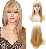 Party Queen 150Dichte gerade Synthetik Echthaar natürliche Haar Perücken mit Pony blond Farbe Damen African American