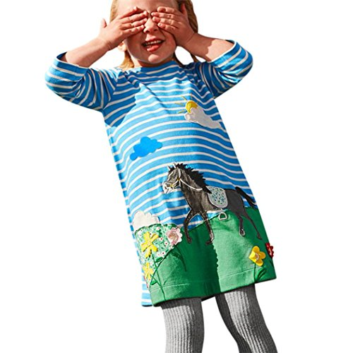 Oyedens Mädchen Rundhalsausschnitt Langarm Casual Dress Cartoon Tier Applique T-Shirt Kleid (120, Blau ( Blau #2)) (Applique T-shirt)