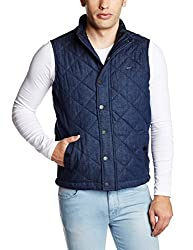 Arrow Sports Mens Regular Fit Jacket (8907259468433_AJQS9047_X-Large_Melange Blue)