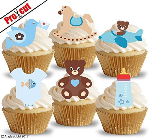 e Baby Boy Toys & Zubehör v. essbarem Reispapier/Wafer Papier Cupcake Kuchen Topper Party Baby Dusche Geburtstag Kinder Kinder Dekorationen (Teddy Bear Baby-dusche Dekorationen)
