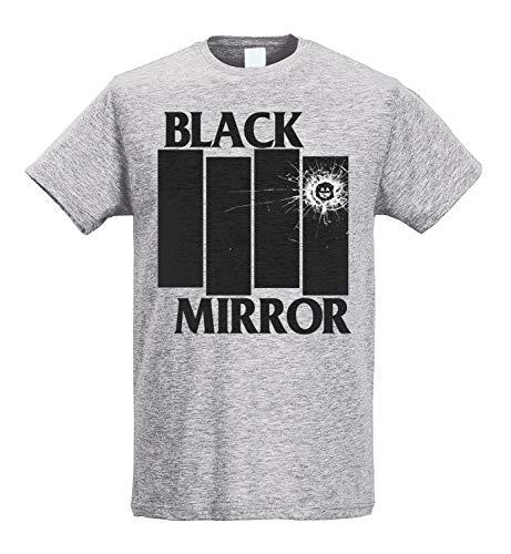 LaMAGLIERIA Camiseta Hombre Slim Black Mirror Black Flag Logo Cod Bm07 - Camiseta 100% algodón Ring Spun TV Series, S, Grigio