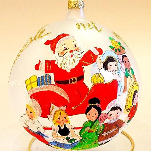 Gilardoni fausto, sfera natalizia diametro 15 cm in vetro soffiato e decorato a mano